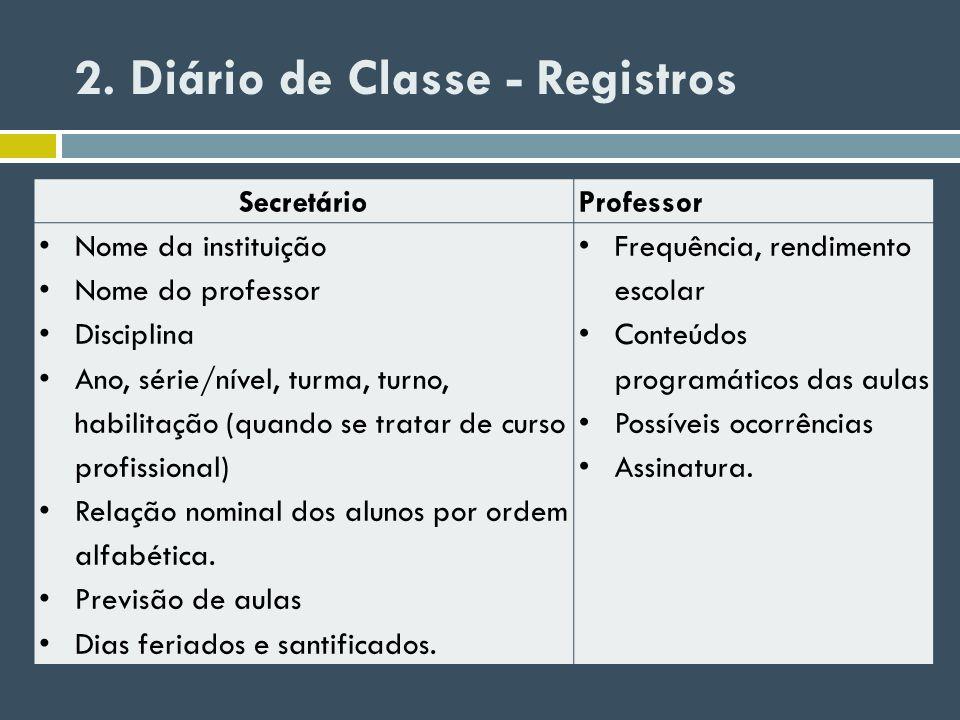 2. Diário de Classe - Registros