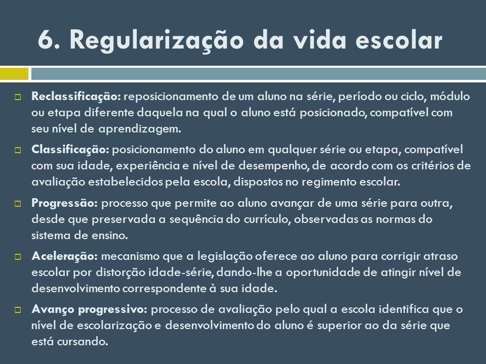 6. Regularização da vida escolar
