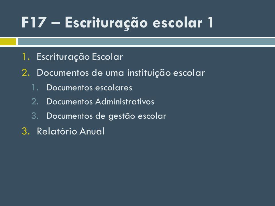 F17 – Escrituração escolar 1