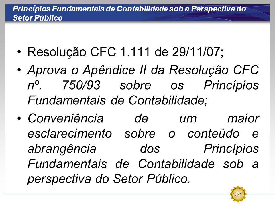 Princípios Fundamentais de Contabilidade sob a Perspectiva do Setor Público