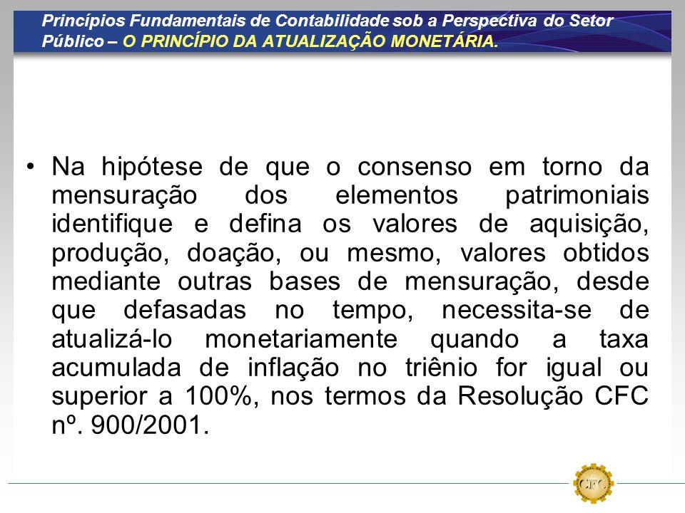Princípios Fundamentais de Contabilidade sob a Perspectiva do Setor Público – O PRINCÍPIO DA ATUALIZAÇÃO MONETÁRIA.