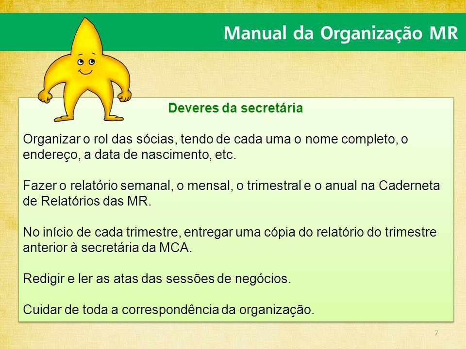 Deveres da secretária Organizar o rol das sócias, tendo de cada uma o nome completo, o endereço, a data de nascimento, etc.