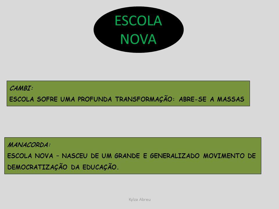 ESCOLA NOVA CAMBI: ESCOLA SOFRE UMA PROFUNDA TRANSFORMAÇÃO: ABRE-SE A MASSAS. MANACORDA: