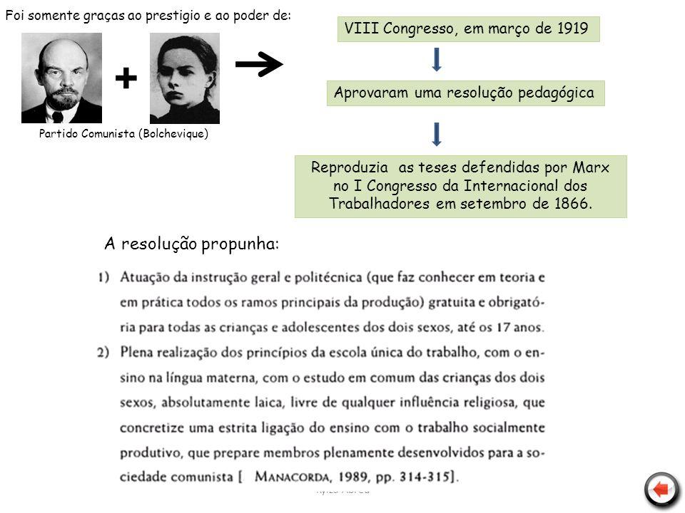 + A resolução propunha: VIII Congresso, em março de 1919