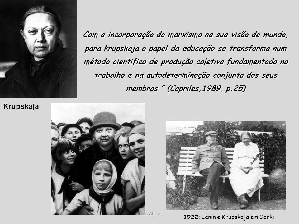 Com a incorporação do marxismo na sua visão de mundo, para krupskaja o papel da educação se transforma num método cientifico de produção coletiva fundamentado no trabalho e na autodeterminação conjunta dos seus membros (Capriles,1989, p.25)