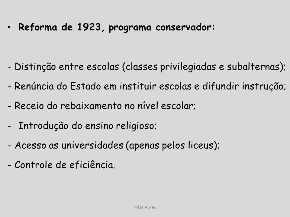 Reforma de 1923, programa conservador: