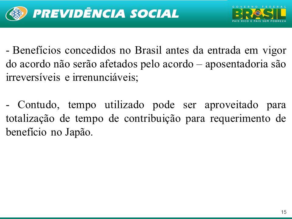Benefícios concedidos no Brasil antes da entrada em vigor do acordo não serão afetados pelo acordo – aposentadoria são irreversíveis e irrenunciáveis;