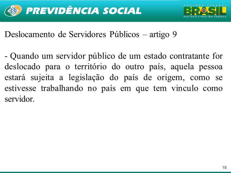 Deslocamento de Servidores Públicos – artigo 9