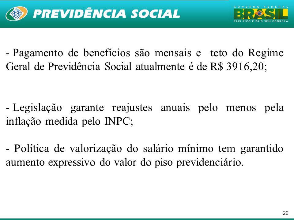 Pagamento de benefícios são mensais e teto do Regime Geral de Previdência Social atualmente é de R$ 3916,20;