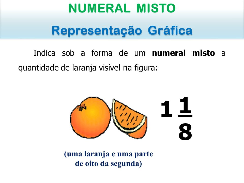 Representação Gráfica (uma laranja e uma parte de oito da segunda)