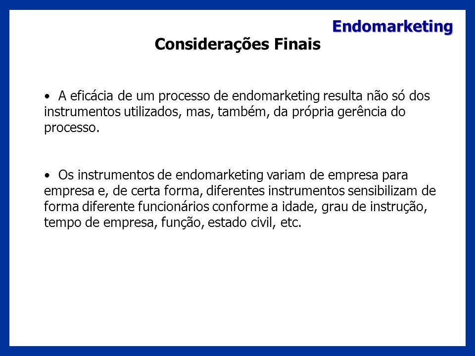 Endomarketing Considerações Finais