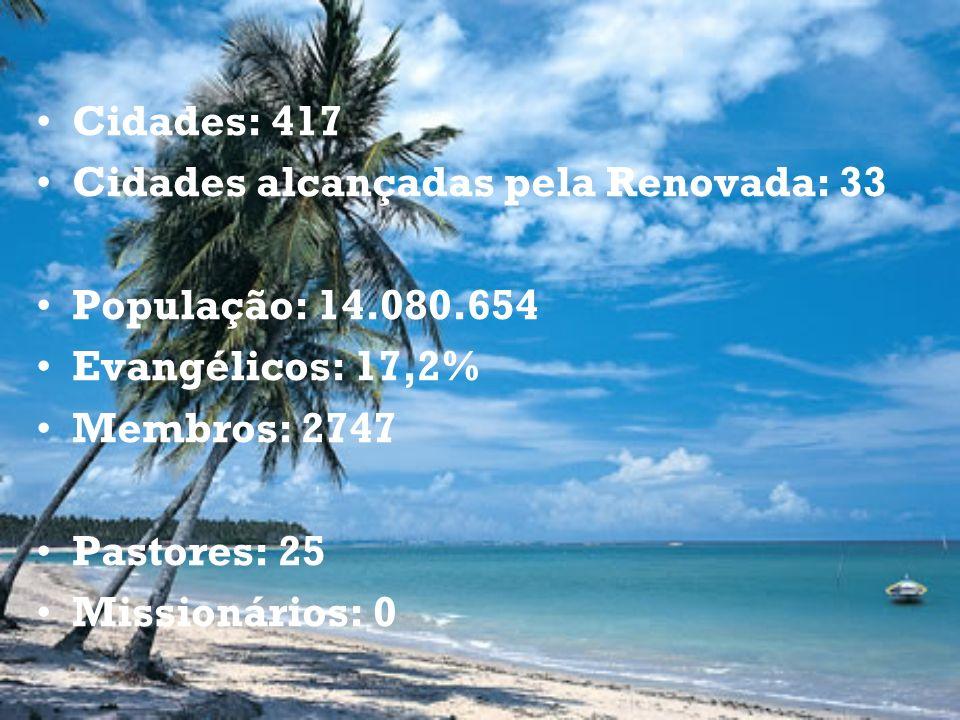 Cidades: 417 Cidades alcançadas pela Renovada: 33. População: 14.080.654. Evangélicos: 17,2% Membros: 2747.