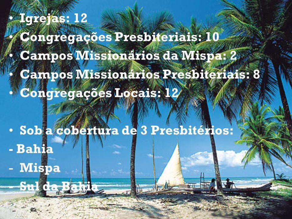 Igrejas: 12 Congregações Presbiteriais: 10. Campos Missionários da Mispa: 2. Campos Missionários Presbiteriais: 8.