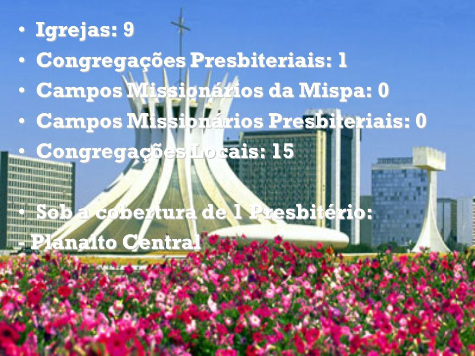 Igrejas: 9 Congregações Presbiteriais: 1. Campos Missionários da Mispa: 0. Campos Missionários Presbiteriais: 0.