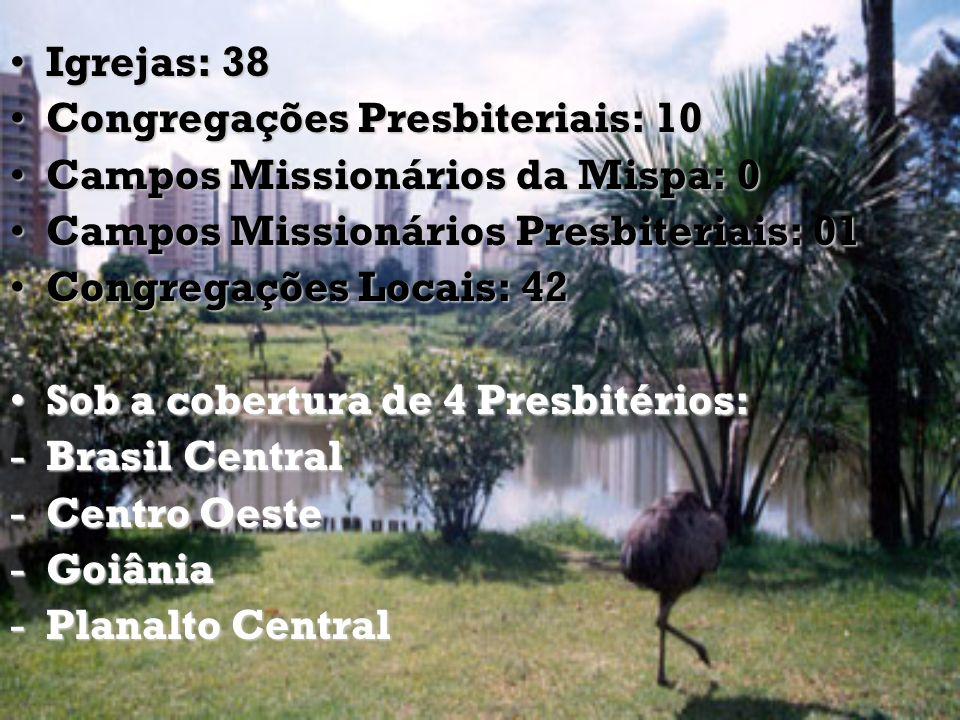 Igrejas: 38 Congregações Presbiteriais: 10. Campos Missionários da Mispa: 0. Campos Missionários Presbiteriais: 01.