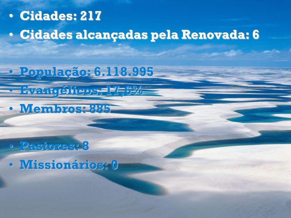 Cidades: 217 Cidades alcançadas pela Renovada: 6. População: 6.118.995. Evangélicos: 17,6% Membros: 885.
