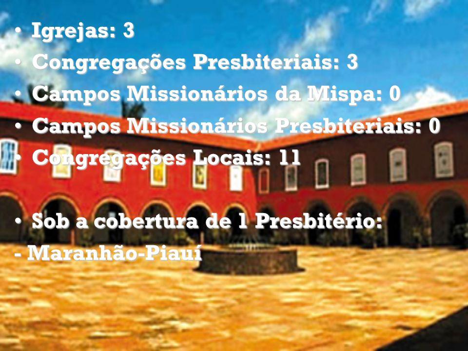 Igrejas: 3 Congregações Presbiteriais: 3. Campos Missionários da Mispa: 0. Campos Missionários Presbiteriais: 0.