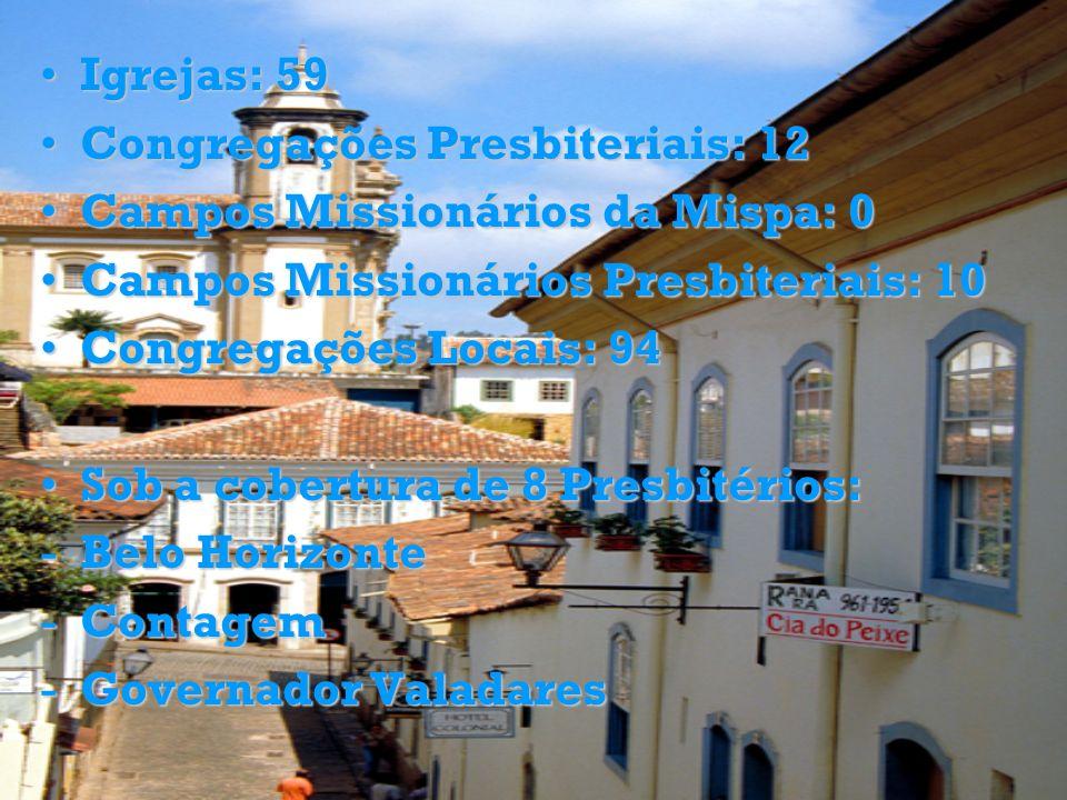 Igrejas: 59 Congregações Presbiteriais: 12. Campos Missionários da Mispa: 0. Campos Missionários Presbiteriais: 10.