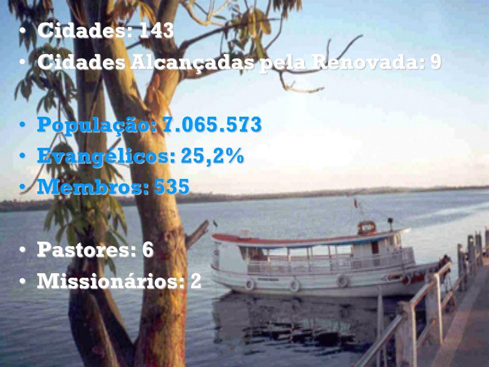 Cidades: 143 Cidades Alcançadas pela Renovada: 9. População: 7.065.573. Evangélicos: 25,2% Membros: 535.