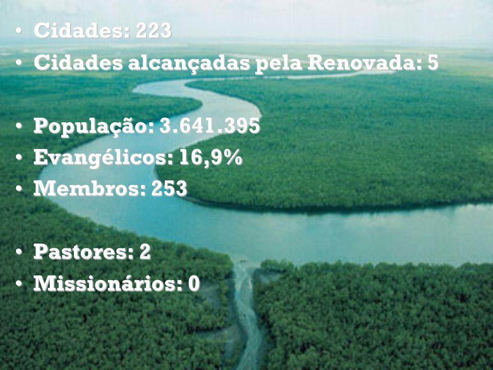 Cidades: 223 Cidades alcançadas pela Renovada: 5. População: 3.641.395. Evangélicos: 16,9% Membros: 253.