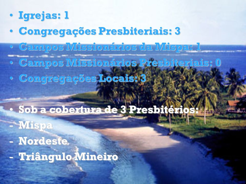 Igrejas: 1 Congregações Presbiteriais: 3. Campos Missionários da Mispa: 1. Campos Missionários Presbiteriais: 0.