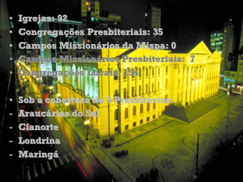 Igrejas: 92 Congregações Presbiteriais: 35. Campos Missionários da Mispa: 0. Campos Missionários Presbiteriais: 7.