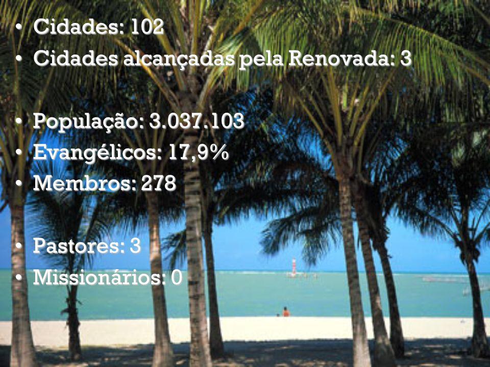 Cidades: 102 Cidades alcançadas pela Renovada: 3. População: 3.037.103. Evangélicos: 17,9% Membros: 278.