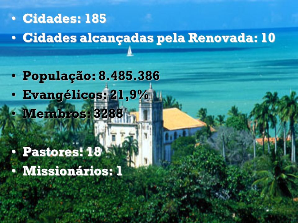Cidades: 185 Cidades alcançadas pela Renovada: 10. População: 8.485.386. Evangélicos: 21,9% Membros: 3288.