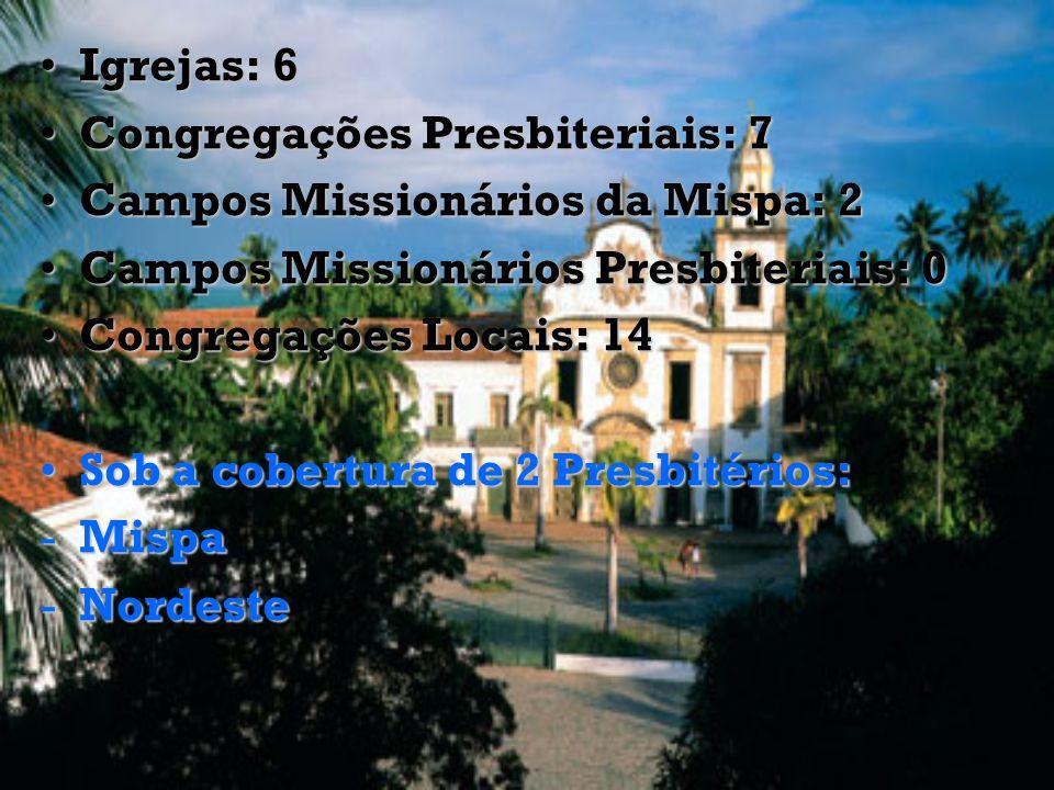 Igrejas: 6 Congregações Presbiteriais: 7. Campos Missionários da Mispa: 2. Campos Missionários Presbiteriais: 0.