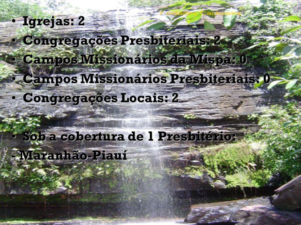 Igrejas: 2 Congregações Presbiteriais: 2. Campos Missionários da Mispa: 0. Campos Missionários Presbiteriais: 0.