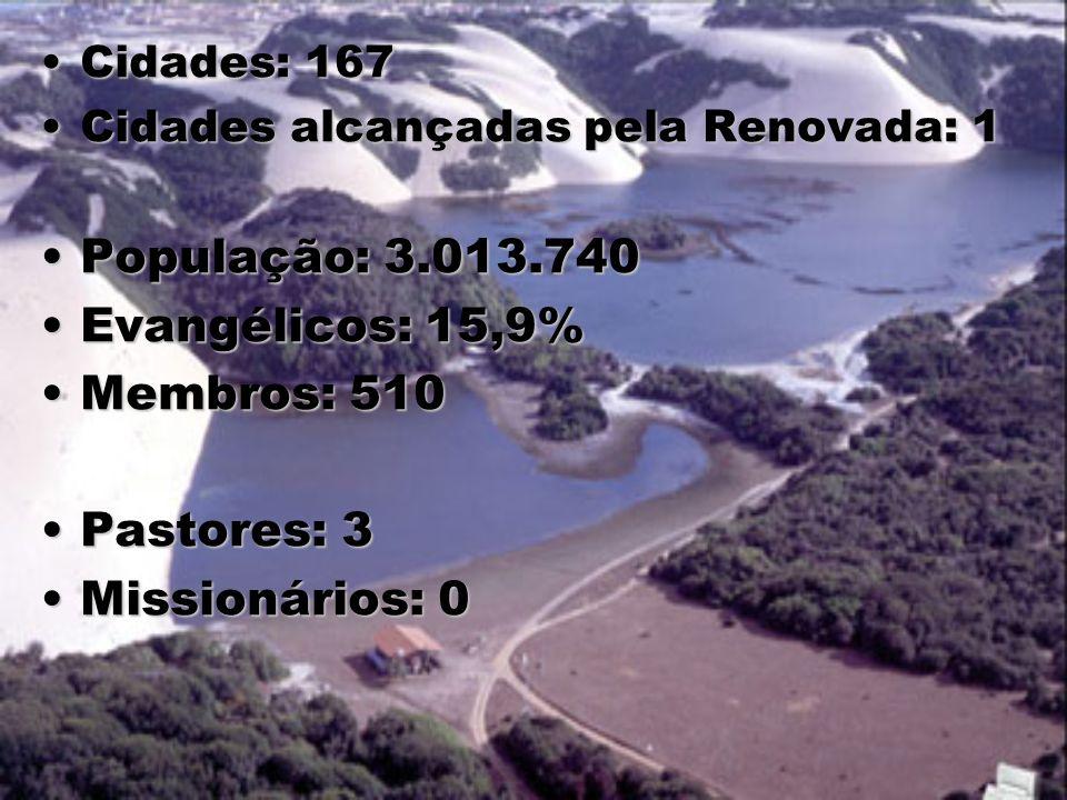 População: 3.013.740 Evangélicos: 15,9% Membros: 510 Pastores: 3