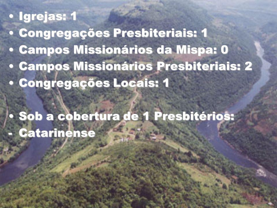 Igrejas: 1 Congregações Presbiteriais: 1. Campos Missionários da Mispa: 0. Campos Missionários Presbiteriais: 2.