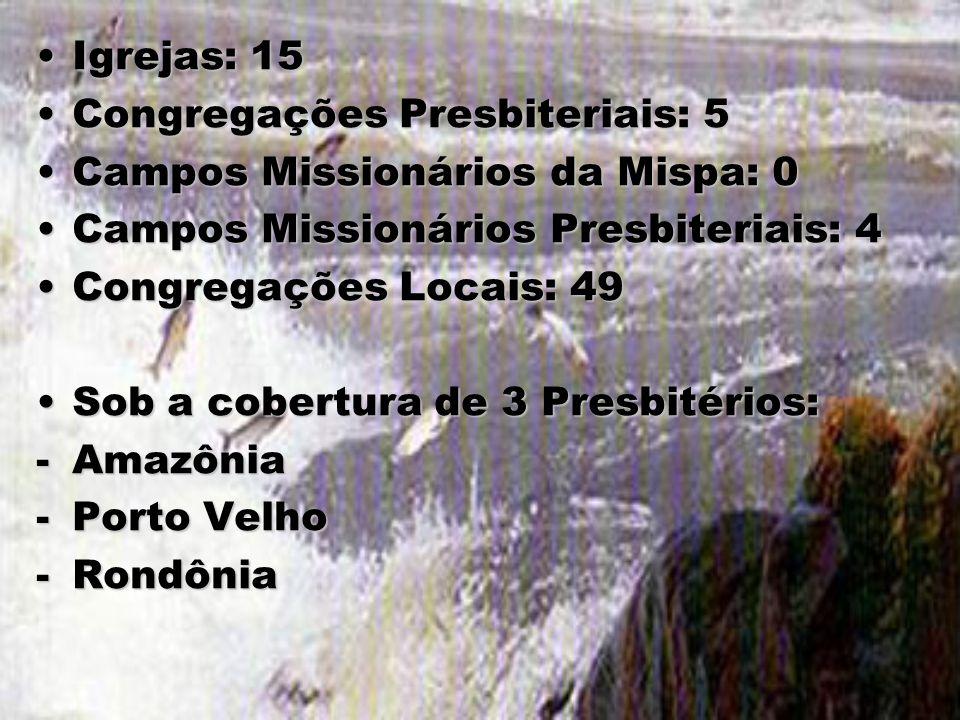 Igrejas: 15 Congregações Presbiteriais: 5. Campos Missionários da Mispa: 0. Campos Missionários Presbiteriais: 4.