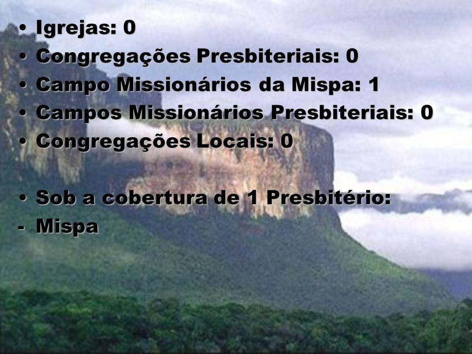 Igrejas: 0 Congregações Presbiteriais: 0. Campo Missionários da Mispa: 1. Campos Missionários Presbiteriais: 0.