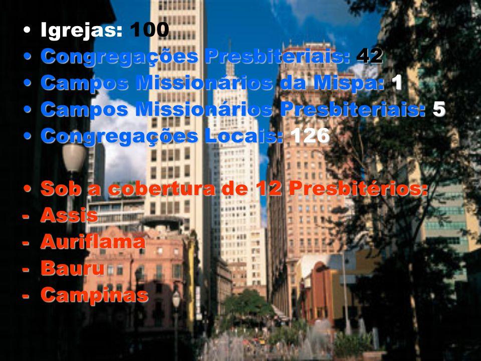 Igrejas: 100 Congregações Presbiteriais: 42. Campos Missionários da Mispa: 1. Campos Missionários Presbiteriais: 5.