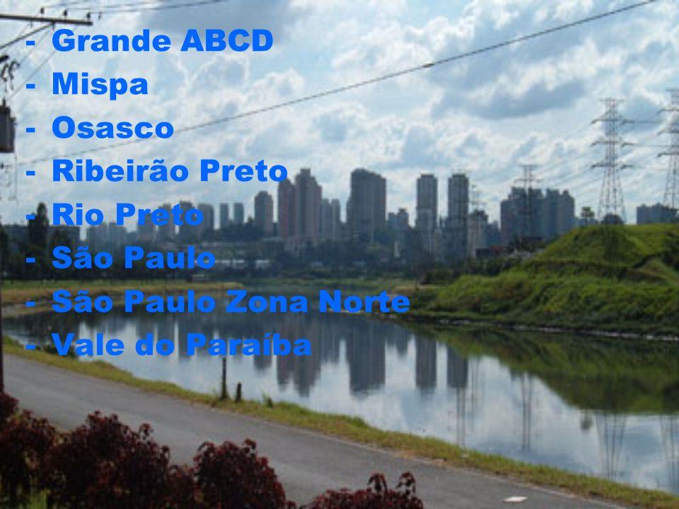Grande ABCD Mispa Osasco Ribeirão Preto Rio Preto São Paulo São Paulo Zona Norte Vale do Paraíba