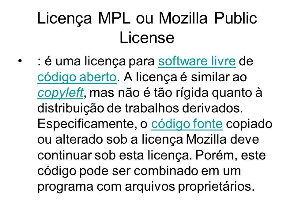 Licença MPL ou Mozilla Public License