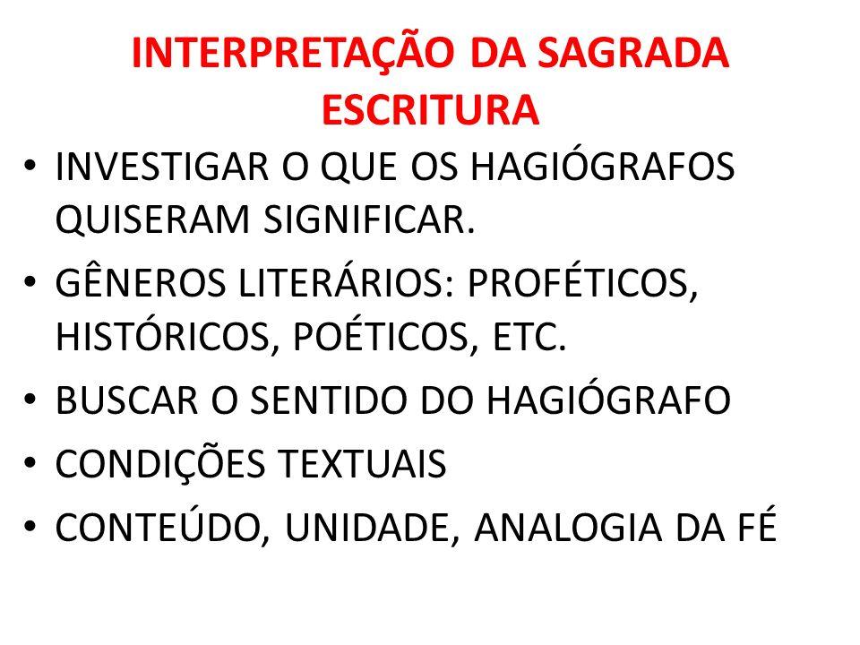 INTERPRETAÇÃO DA SAGRADA ESCRITURA