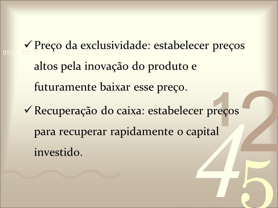 Preço da exclusividade: estabelecer preços altos pela inovação do produto e futuramente baixar esse preço.
