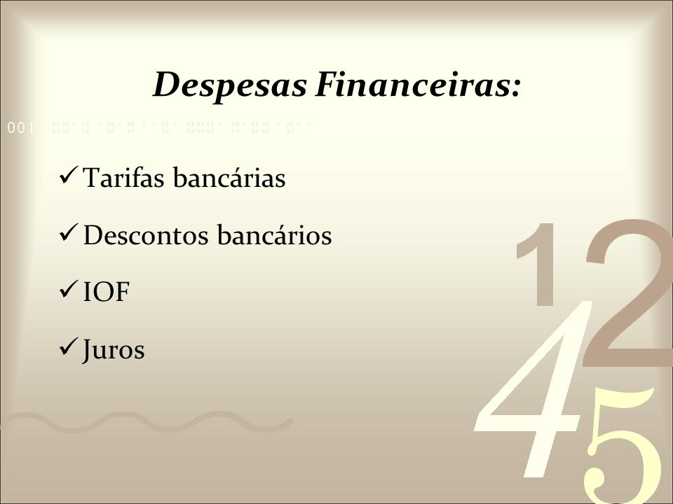 Despesas Financeiras: