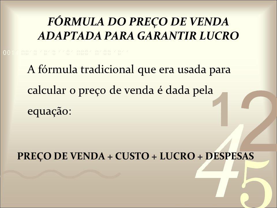 FÓRMULA DO PREÇO DE VENDA ADAPTADA PARA GARANTIR LUCRO