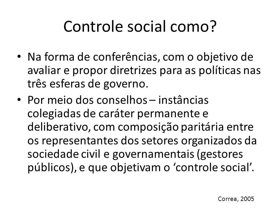 Controle social como Na forma de conferências, com o objetivo de avaliar e propor diretrizes para as políticas nas três esferas de governo.