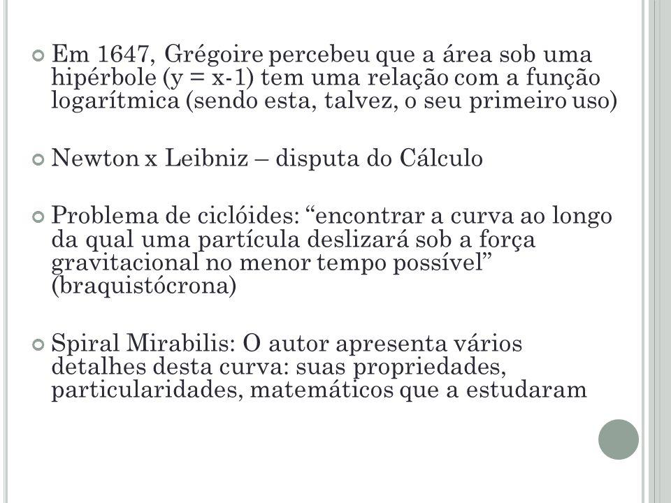 Em 1647, Grégoire percebeu que a área sob uma hipérbole (y = x-1) tem uma relação com a função logarítmica (sendo esta, talvez, o seu primeiro uso)