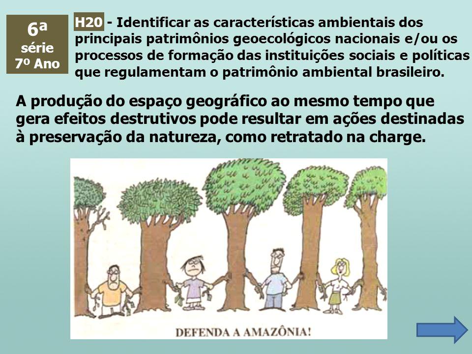 H20 - Identificar as características ambientais dos principais patrimônios geoecológicos nacionais e/ou os processos de formação das instituições sociais e políticas que regulamentam o patrimônio ambiental brasileiro.
