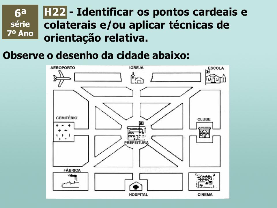 6ª série. 7º Ano. H22 - Identificar os pontos cardeais e colaterais e/ou aplicar técnicas de orientação relativa.