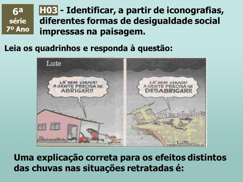 6ª série. 7º Ano. H03 - Identificar, a partir de iconografias, diferentes formas de desigualdade social impressas na paisagem.