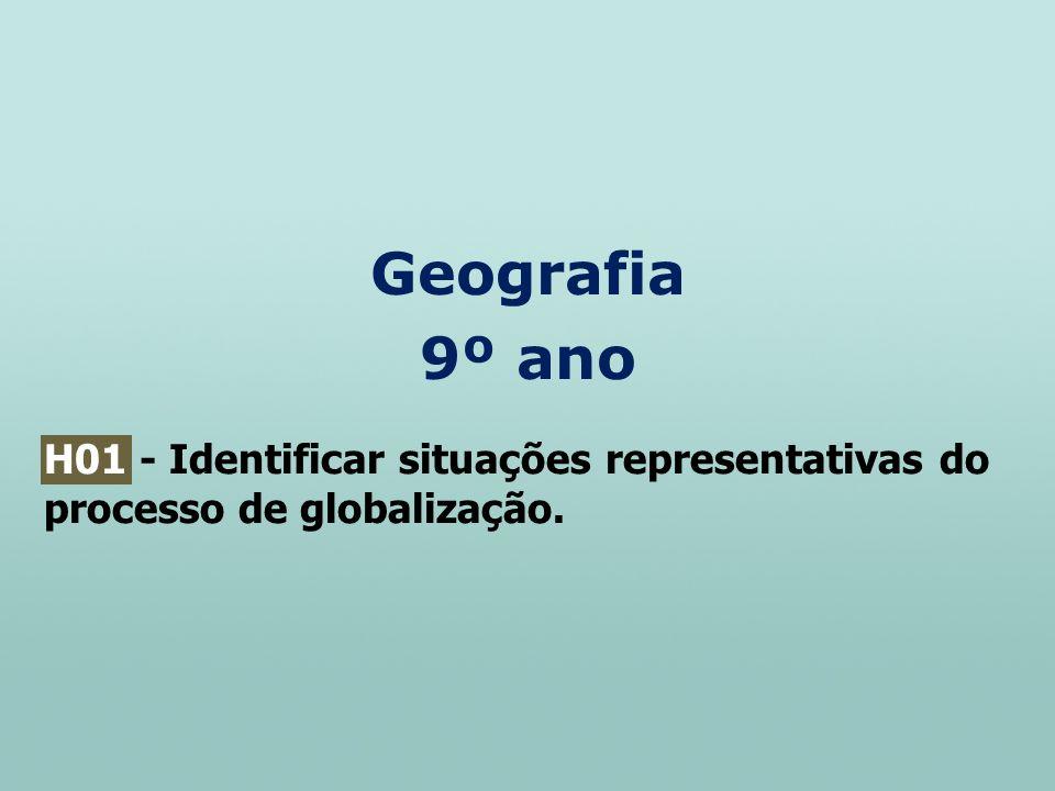 Geografia 9º ano H01 - Identificar situações representativas do processo de globalização.