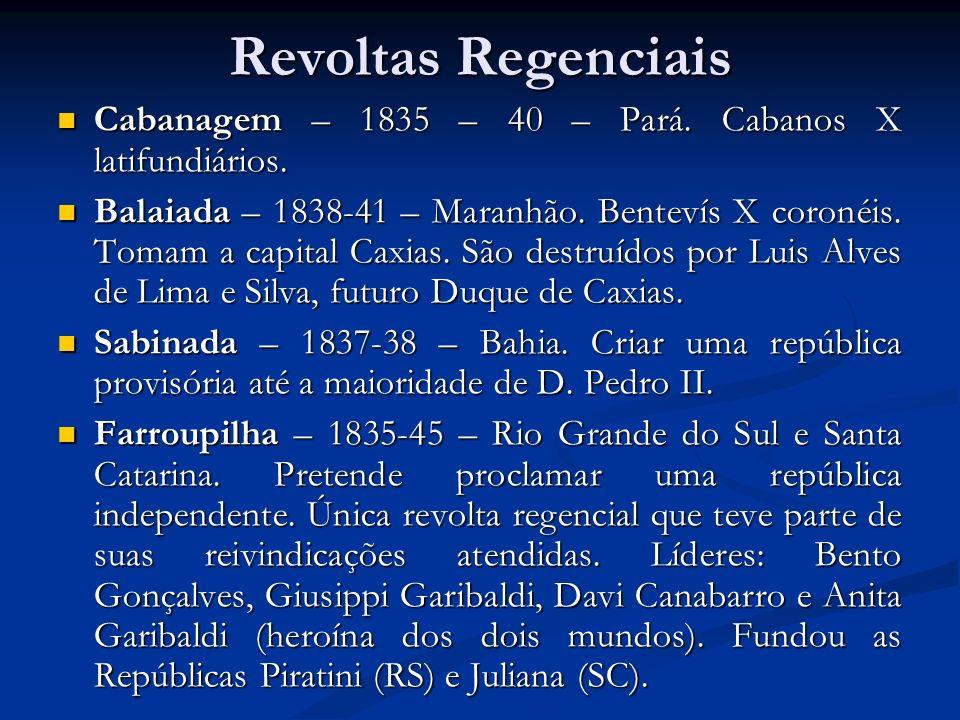 Revoltas Regenciais Cabanagem – 1835 – 40 – Pará. Cabanos X latifundiários.