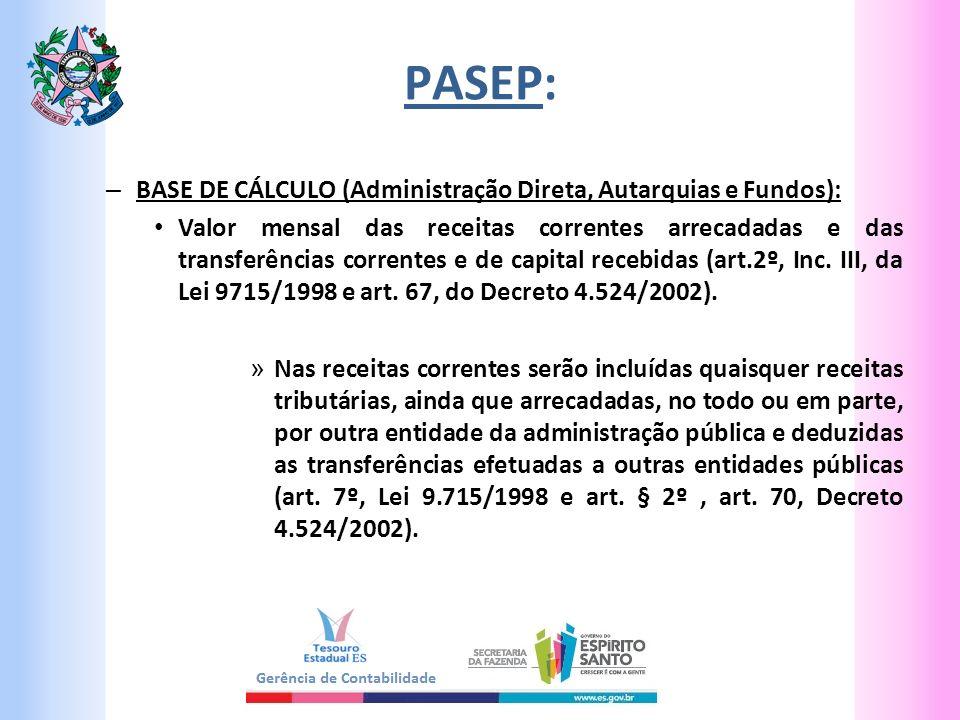 PASEP: BASE DE CÁLCULO (Administração Direta, Autarquias e Fundos):