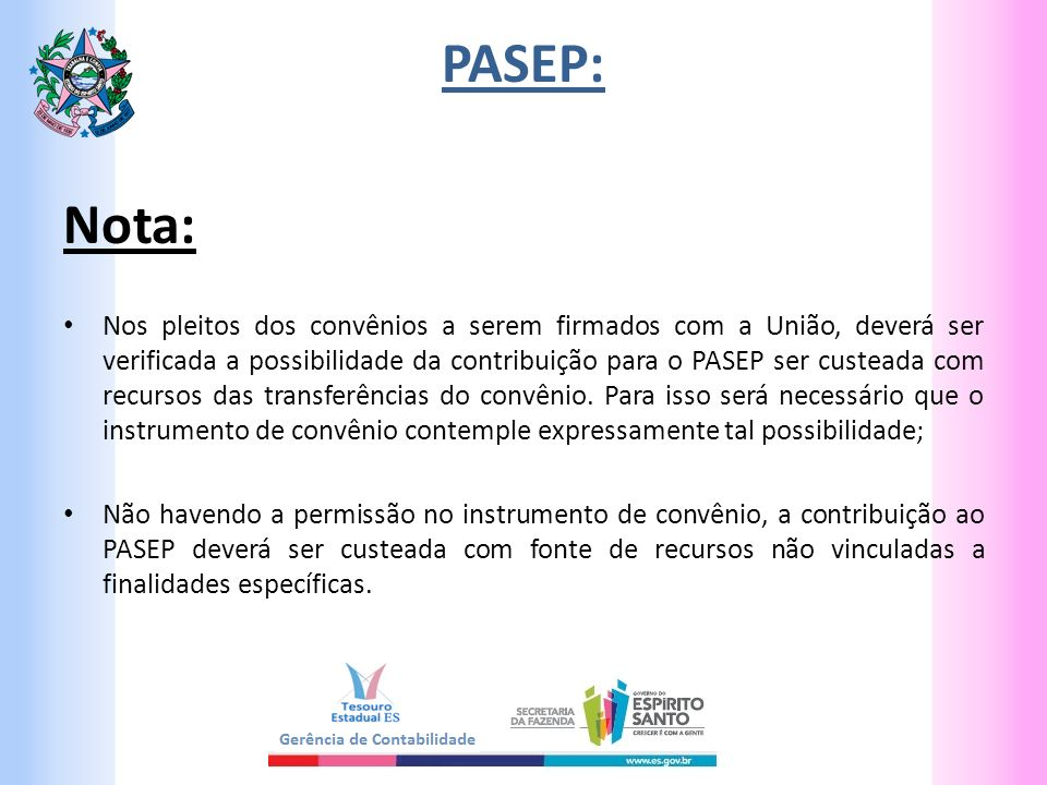 PASEP: Nota: